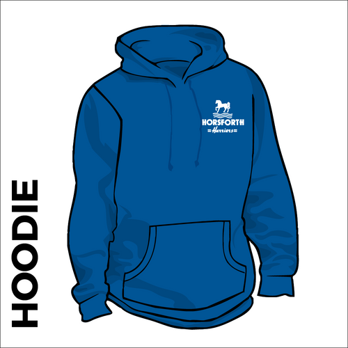 Horsforth Harriers royal hooded top front with embroidered club badge on left chest