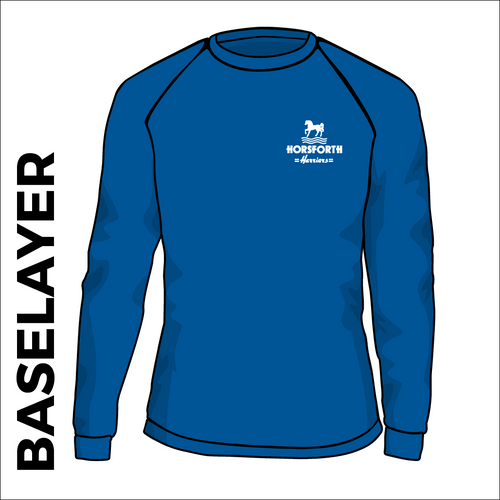 Horsforth Harriers royal base layer, front view with embroidered club badge on chest