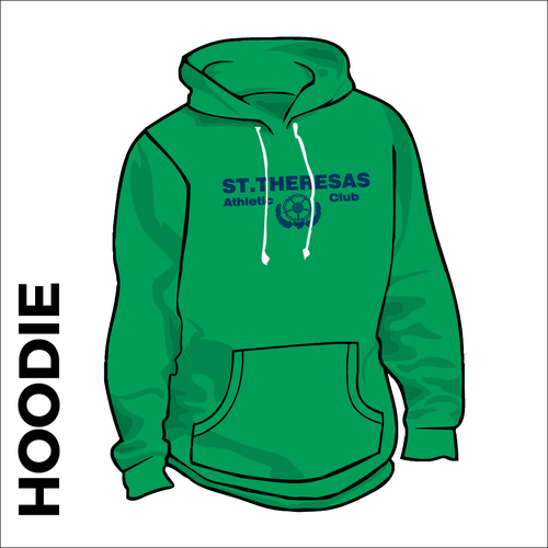 St. Theresas green hooded top front with printed club badge on chest