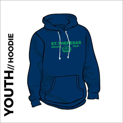 St. Theresas navy youth hooded top front with printed club badge on chest