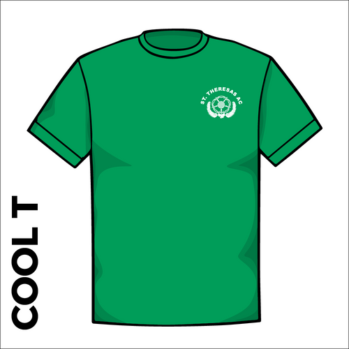 St Thereseas green athletic Cool T-Shirt froint image showing club badge