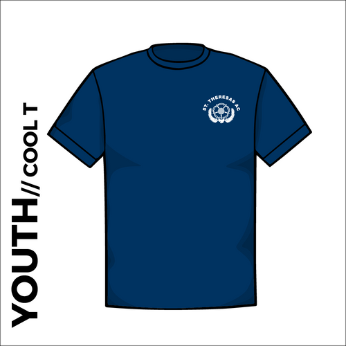 St. Theresas navy youth athletics Cool T-Shirt front image with printed club badge on chest