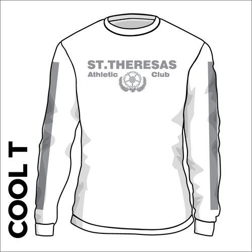 St. Theresas white Long Sleeve reflective athletics Cool T-Shirt front image with printed club badge on chest