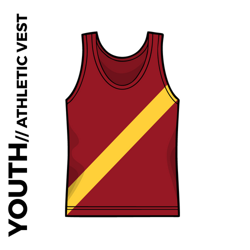 Maroon youth athletics vest, front image with gold sash on chest.