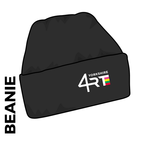 4RT turn up beanie, black with embroidered club crest on the front.
