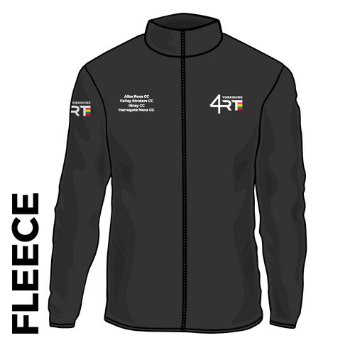 4RT fleece top front with embroidered badge on left chest, right chest and right arm.
