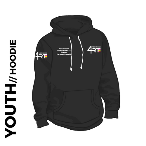 4RT Youth Hooded top. Royal blue colour cotton blend fabric for comfort with ribbed hem and cuffs. Embroidered club badge left chest club text right chest and right arm.