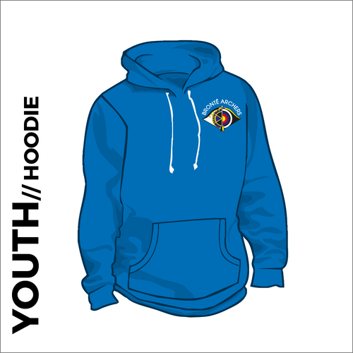 Bronte Archers Hooded top. Royal cotton blend fabric for comfort with ribbed hem and cuffs. Embroidered club badge left chest