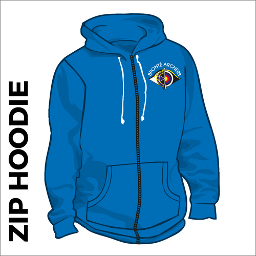 Bronte Archers Zipped Hooded top. Royal cotton blend fabric for comfort with ribbed hem and cuffs. Embroidered club badge left chest