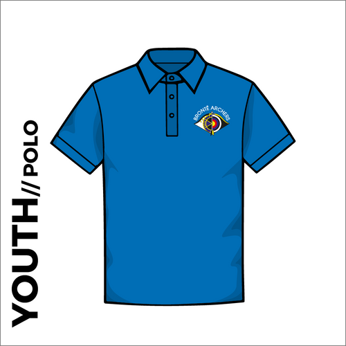 Front of Bronte Archers official Polo T-Shirt. embroidered club badge on left chest.