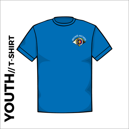 Front of Bronte Archers official Youth Cotton T-Shirt. embroidered club badge on left chest.