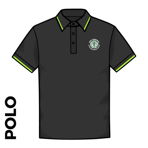WYAMS Polo Shirt. Roundel logo in Black and Lime