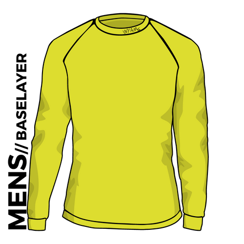 WYAMS long sleeve Baselayer. Text logo in Flouro Yellow