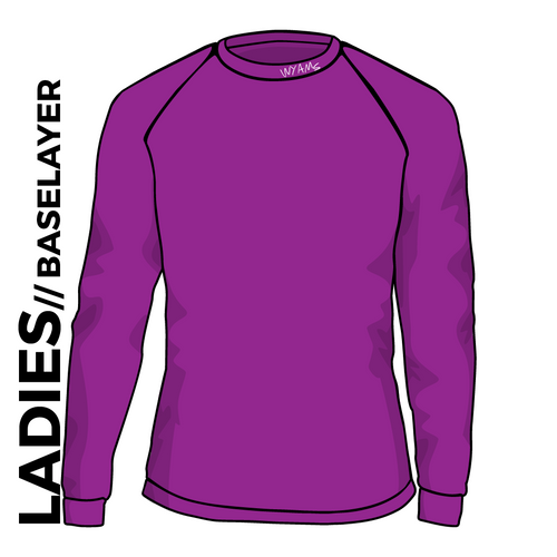 WYAMS long sleeve Baselayer. Text logo in Purple