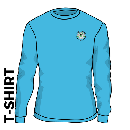 WYAMS long sleeve T-Shirt. Roundel logo in Carolina Blue