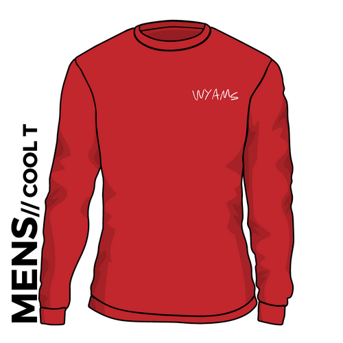WYAMS long sleeve cool T. Text logo in Fire Red