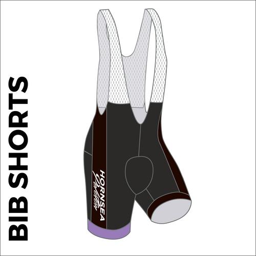 Custom cycle bib short club design side panel sublimation print. Side picture showing club custom design, silicon leg gripper and 4 way stretch bib mesh. right leg view