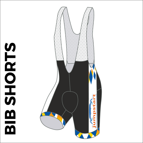 Custom cycle bib short club design side panel sublimation print. Side picture showing club custom design, silicon leg gripper and 4 way stretch bib mesh. Left leg view