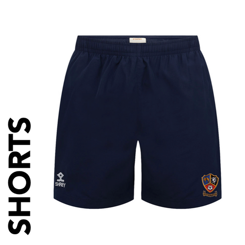 Ossett CC Adult Shorts Navy Blue Club Badge Embroidered on right leg