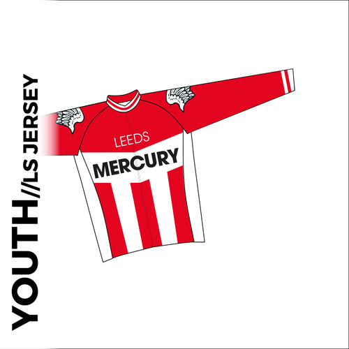 Youth long sleeve custom cycle jersey club design in full sublimation print. Front picture showing full length hidden SBS zip, high collar for comfort fit and silicon gripper at hem.