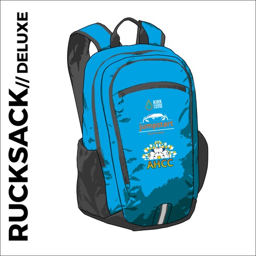 Deluxe backpack with comfort straps and back panel. printed with club logos on the front pocket.