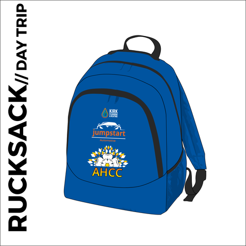 backpack with media port. printed with club logos on the front pocket.