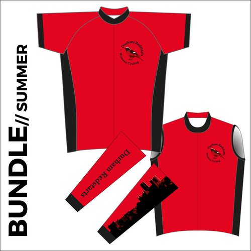 Summer club bundle kit. Full kit including cycle jersey, cycle arm warmers and cycle gilet in the custom club design.