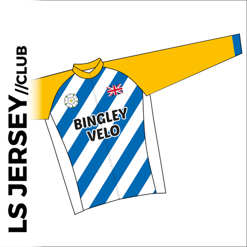 Long sleeve custom cycle jersey club design in full sublimation print. Front picture showing full length hidden SBS zip, high collar for comfort fit and silicon gripper at hem.