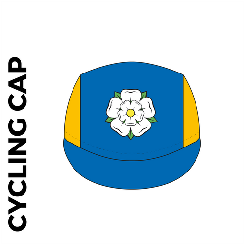 Custom cycle cap in full sublimation print, image showing front panel design and design on the cap peak