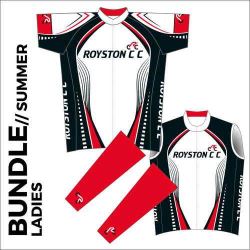 Ladies Summer club bundle kit. Full kit including cycle jersey, cycle arm warmers and cycle gilet in the custom club design.