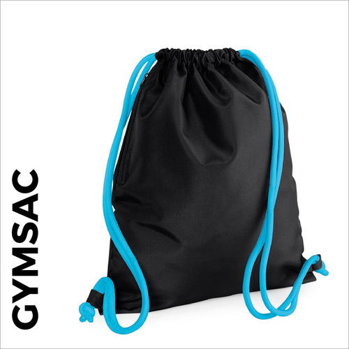 custom printed Black Gymsac with blue cords