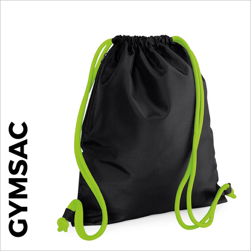 custom printed Black Gymsac with green cords