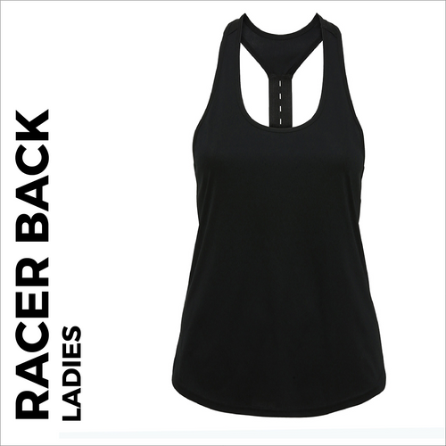 custom printed Black ladies Racer back vest