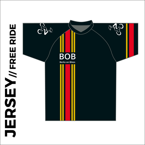 Short sleeve custom free ride cycle jersey club design in full sublimation print. Front picture showing raglan sleeve, oversized for downhill cycle armour and un-elasticated hem.