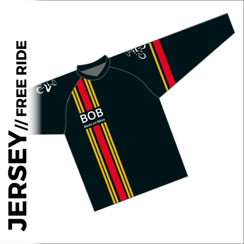 Long sleeve custom free ride cycle jersey club design in full sublimation print. Front picture showing raglan sleeve, oversized for downhill cycle armour and un-elasticated hem.