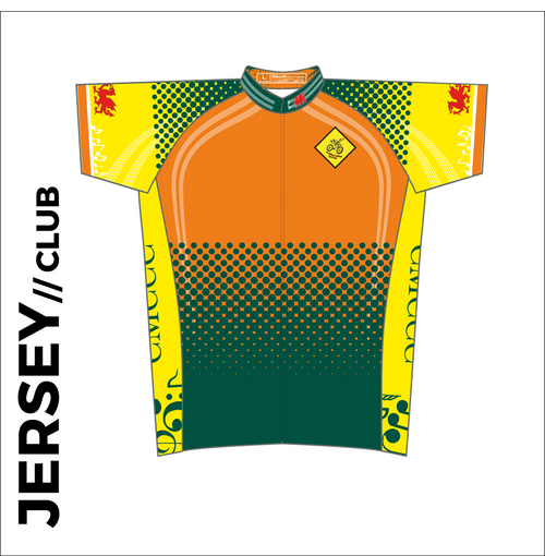 Short sleeve custom cycle jersey club design in full sublimation print. Front picture showing full length hidden SBS zip, high collar for comfort fit and silicon gripper at hem.