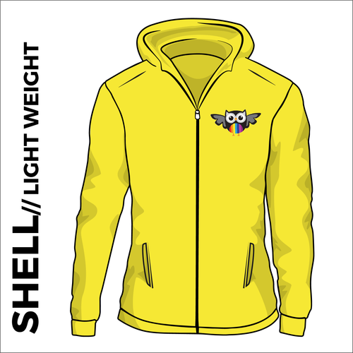 yellow ultra light softshell athletics jacket, front view with club crest on chest