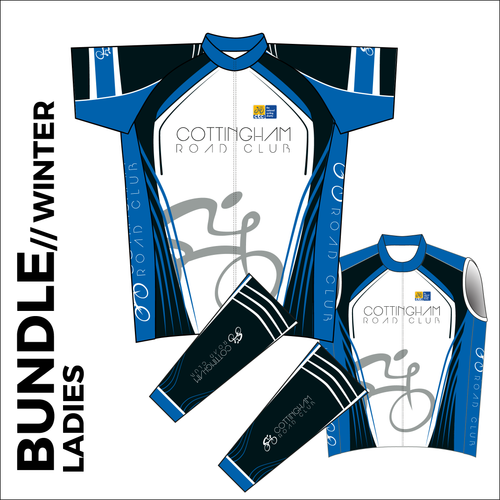 Ladies winter club bundle kit. Full kit including cycle jersey, Roubaix cycle arm warmers and winter fleeced cycle gilet in the custom club design.