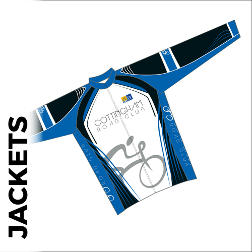 Long sleeve custom cycle jacket club design in full sublimation print. Front picture showing full length hidden SBS zip, wind blocker fabric and silicon gripper at hem. available in 3 weights to suit each season.