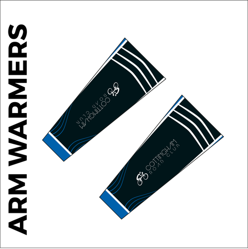 Custom cycle arm warmer club design in full sublimation print. Front picture showing club custom design and silicon gripper at hem.