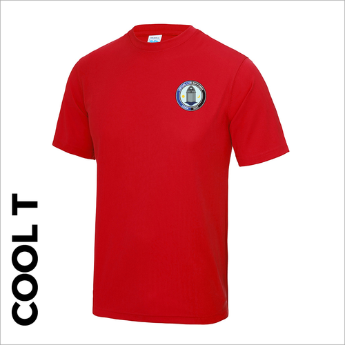 Red Cool-T, moisture wicking with embroidered Sir Fynwy 100 left chest badge