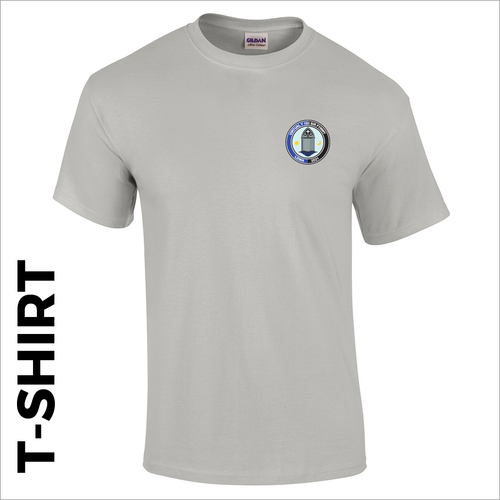 Grey T-Shirt, cotton with embroidered Sir Fynwy 100 left chest badge
