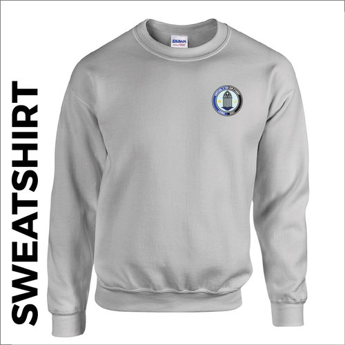 Grey sweatshirt with embroidered Sir Fynwy 100 left chest badge