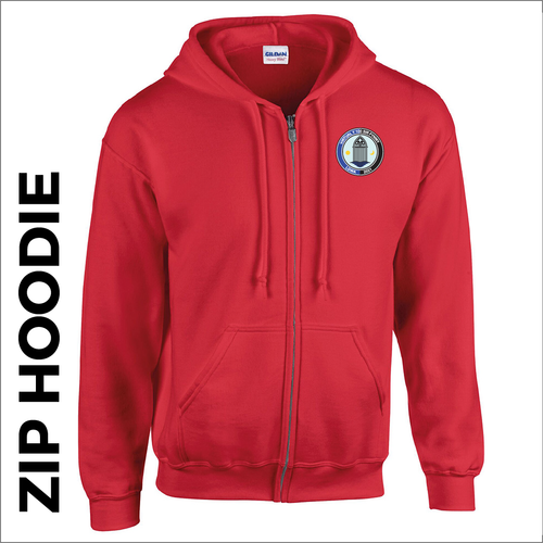 Red zipped hoodie with embroidered Sir Fynwy 100 logo on chest