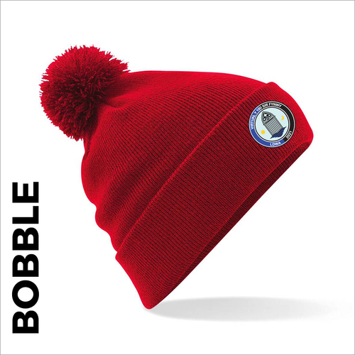 Red bobble with embroidered Sir Fynwy 100 badge on cuff