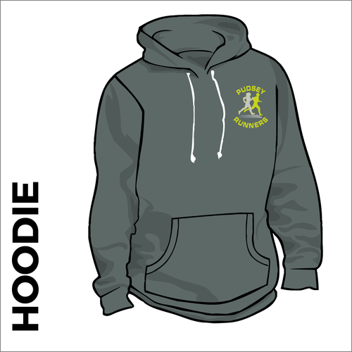 charcoal hooded top front with embroidered club badge on left chest