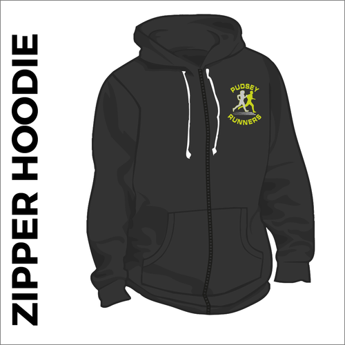 black zipped hooded top front with embroidered club badge on left chest