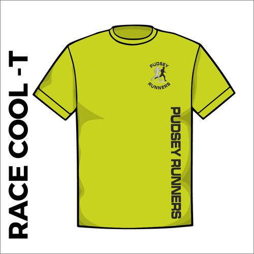 Race cool T with printed club text on front