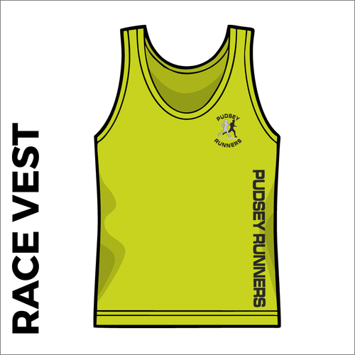 Race vest with printed club text on front