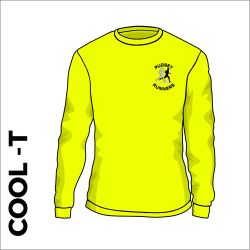 yellow LS cool T with printed club text on front